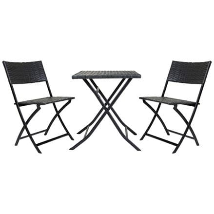Charles Bentley 2 Seater Square 3 Piece Rattan Bistro Set Patio Furniture - Grey