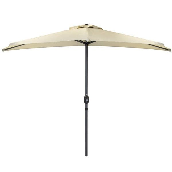Charles Bentley 2.7m Beige Metal Garden Half Balcony Parasol With Crank Function