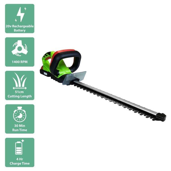 Charles Bentley 20V Portable Cordless Hedge Trimmer Strimmer Cutter - Green