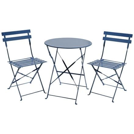 Charles Bentley 3 Piece Metal Bistro Set Garden Patio Table & 2 Chairs Navy Grey