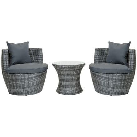Charles Bentley 3 Piece Rattan Stacking Outdoor Patio Furniture Set  - Grey