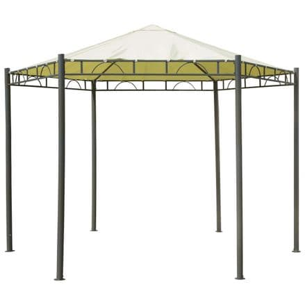 Charles Bentley 3.5m Hexagonal Beige Patio Gazebo Garden Outdoor Party Marquee