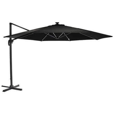 Charles Bentley 3.5m Round Rome Garden LED Umbrella Parasol Outdoor Patio