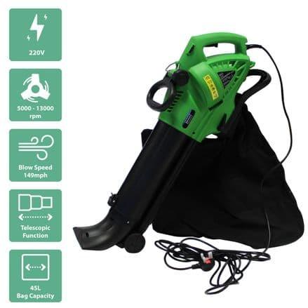Charles Bentley 3000W Electric 220V Leaf Blower / Vacuum / Shredder 45L Bag