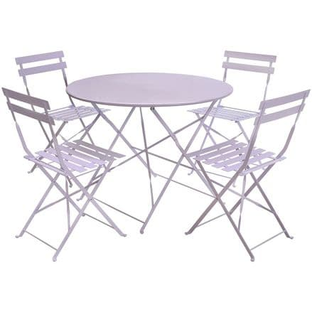 Charles Bentley 4 Seater Metal Dining Set Round Table Patio Conservatory - Lilac