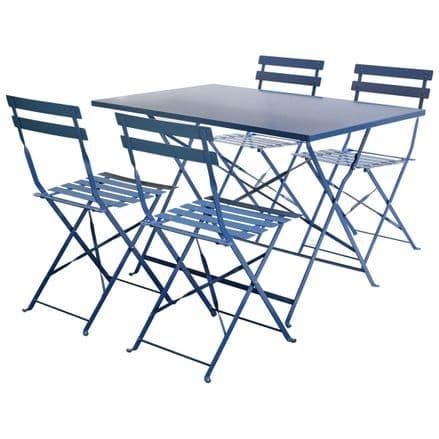 Charles Bentley 4 Seater Rectangular Folding Metal Dining Set - Navy Grey