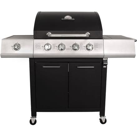 Charles Bentley 5 Burner Premium Gas BBQ  (4 x Burner + 1 Side Burner) - Black
