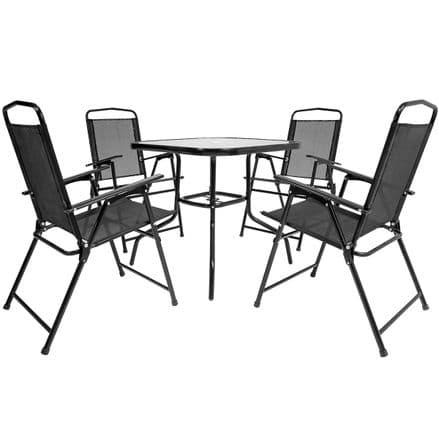 Charles Bentley 5 Piece 4 Seater Textilene Dining Garden Furniture Set - Black