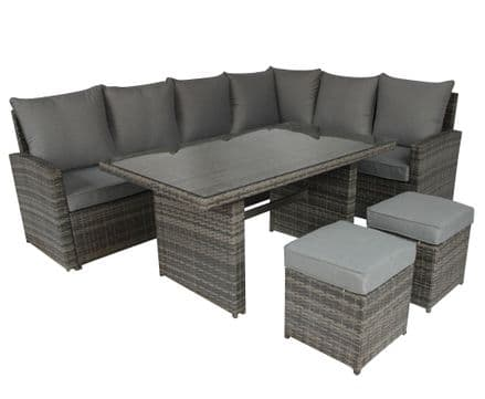 Charles Bentley 6 Seater Multifunctional Casual Rattan Dining Set - Light Grey