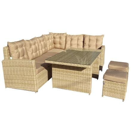 Charles Bentley 6 Seater Multifunctional Casual Rattan Dining Set - Natural Sand