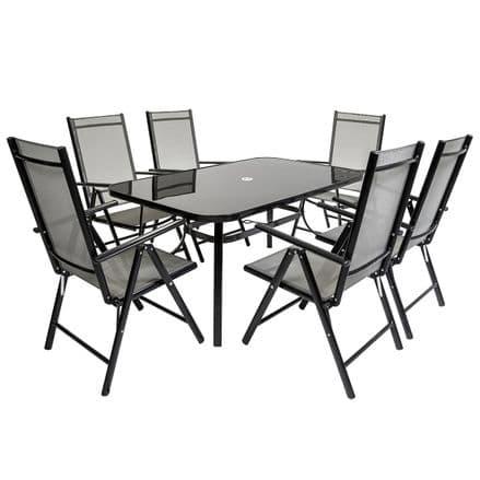 Charles Bentley 6 Seater Rectangular Textilene Table 6 Seats Garden Set Black