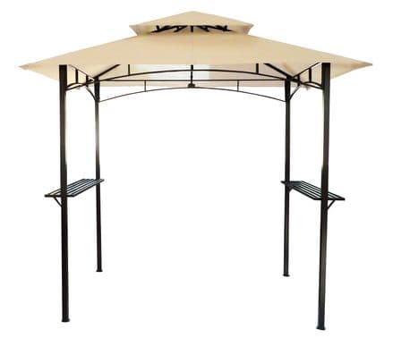 Charles Bentley 8 X 5Ft Steel Grill Gazebo Outdoor Tent Shelter - Beige and Grey