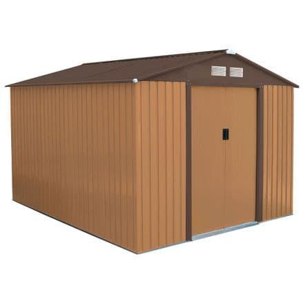 Charles Bentley 8ft x 10ft Metal Garden Shed Outdoor Storage Unit - Brown