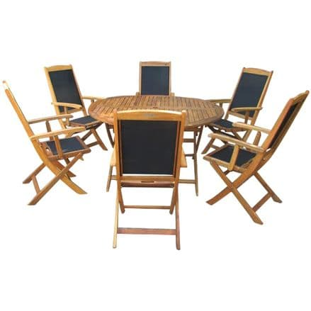 Charles Bentley Acacia Wood Round Table 6 Textilene Folding Chairs Dining Set