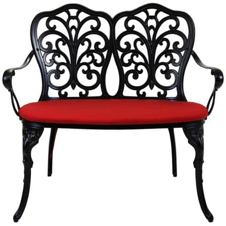 Charles Bentley Black Cast Aluminium Patio Bench With Red Cushioned Seat