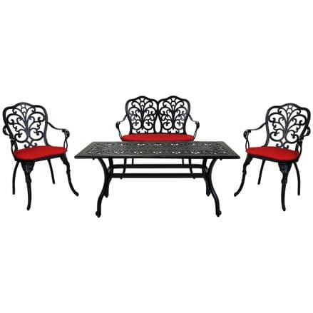 Charles Bentley Cast Aluminium Lounge Patio Set Red Cushioned Seats - Black