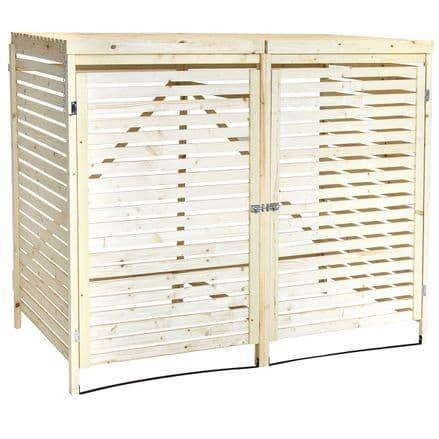 Charles Bentley Double Wooden Bin Store Wheelie Bin Storage Unit Lifting Lid