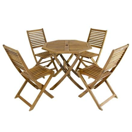 Charles Bentley FSC Acacia Hardwood Octagonal Table & 4 Chairs Dining Set