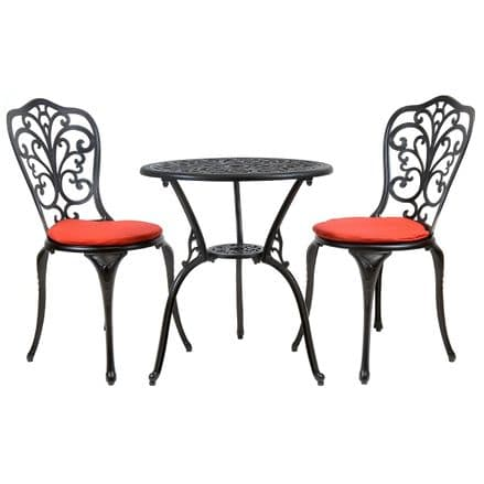 Charles Bentley Furniture Cast Aluminium Bistro Set Black With Red Cushions