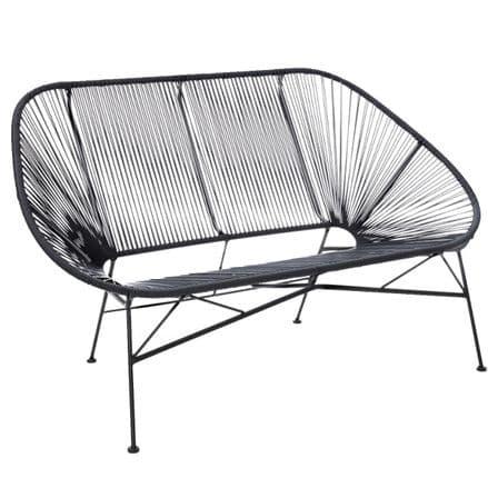 Charles Bentley Garden Furniture Retro Rattan Lounge Conservatory Bench - Black