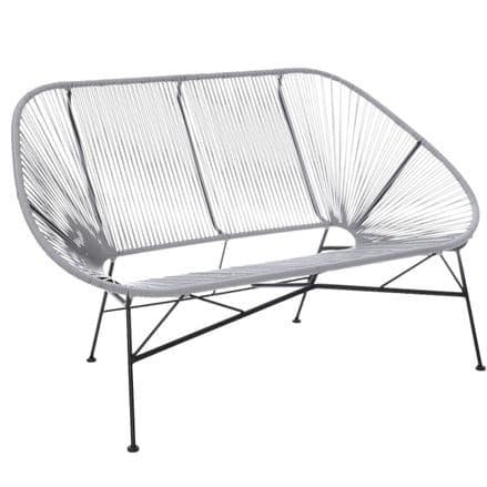 Charles Bentley Garden Furniture Retro Rattan Lounge Conservatory Bench - Grey
