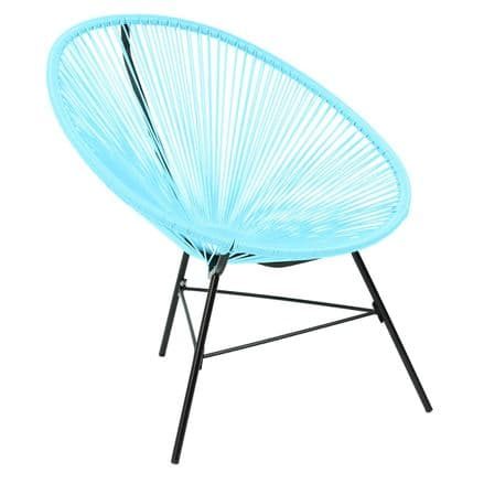 Charles Bentley Garden Furniture Retro Rattan Lounge Conservatory Chair Aqua
