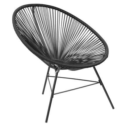 Charles Bentley Garden Furniture Retro Rattan Lounge Conservatory Chair Black