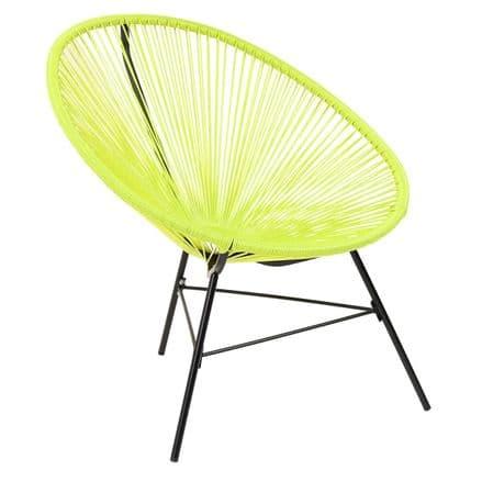 Charles Bentley Garden Furniture Retro Rattan Lounge Conservatory Chair Green