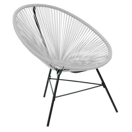 Charles Bentley Garden Furniture Retro Rattan Lounge Conservatory Chair Grey