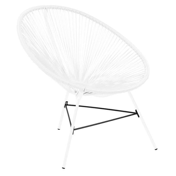 Charles Bentley Garden Furniture Retro Rattan Lounge Conservatory Chair White