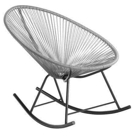 Charles Bentley Garden Furniture Retro Rattan Lounge Rocking Chair - Grey