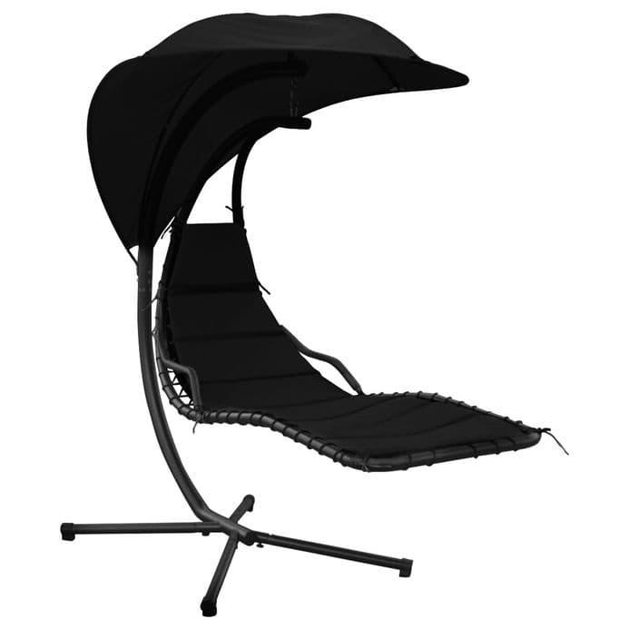 Charles Bentley Garden Helicopter Garden Patio Swing Chair Seat Lounge -Black