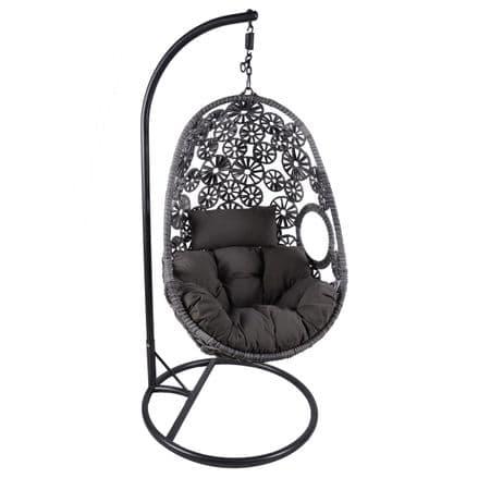 Charles Bentley Hanging Garden Patio Outdoor Rattan Swing Chair Cushion - Grey