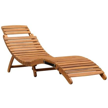 Charles Bentley Large Folding Curved Reclining Wooden Sun Lounger Patio Sunbed