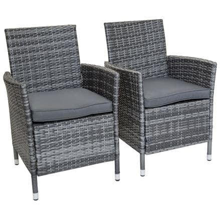 Charles Bentley Napoli Pair Of Rattan Dining Chairs Garden Furniture - Grey
