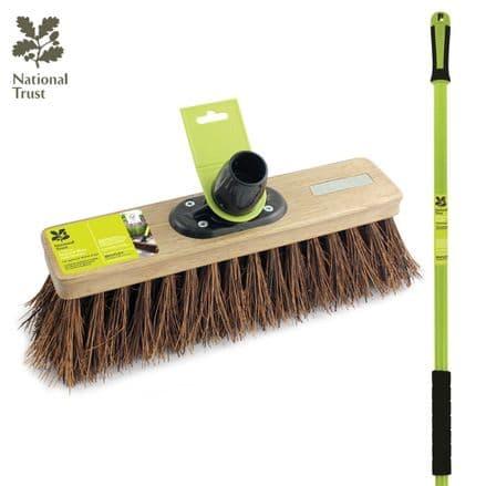 """Charles Bentley National Trust Garden 12"""" Natural Bassine Sweeping Broomw/Handle"""