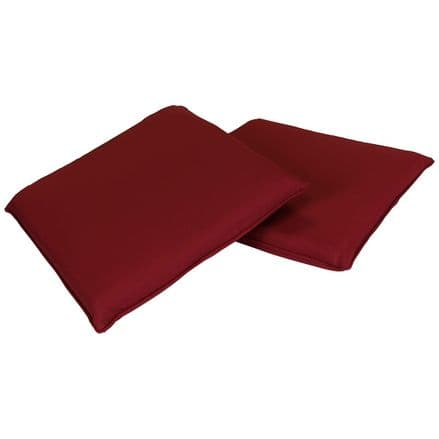 Charles Bentley Pair Of Square Chair Seat Pads Cushions Kitchen Dining - Red