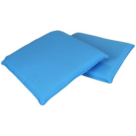 Charles Bentley Pair Of Square Chair Seat Pads Cushions Kitchen Dining - Teal