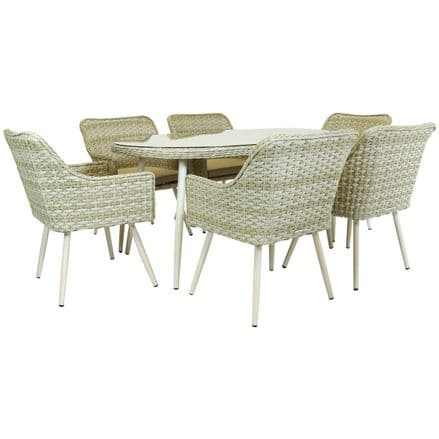 Charles Bentley Premium 6 Seater Rattan Dining Set - Natural