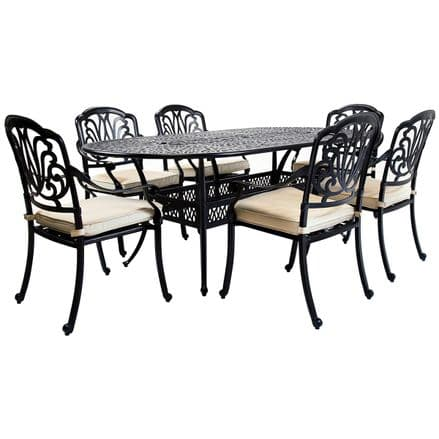 Charles Bentley Premium Furniture Cast Aluminium 7 Piece Outdoor Dining Set