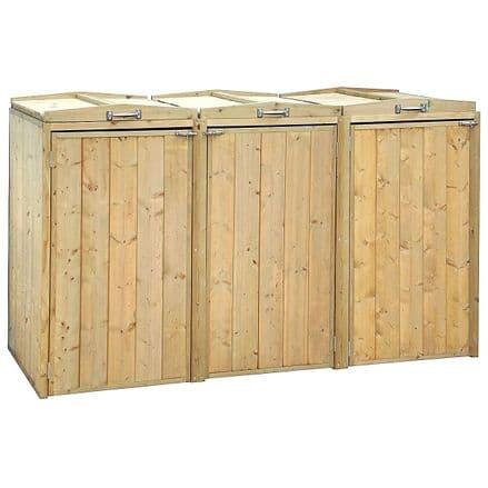 Charles Bentley Premium Nordic Spruce Triple Bin Store Wheelie Bin Storage Unit