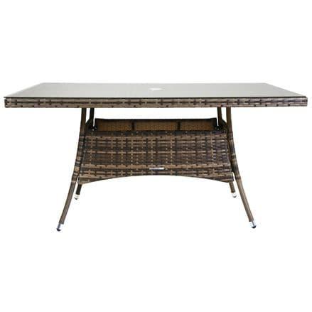 Charles Bentley Rectangular Rattan Dining Table Patio Garden Furniture - Brown