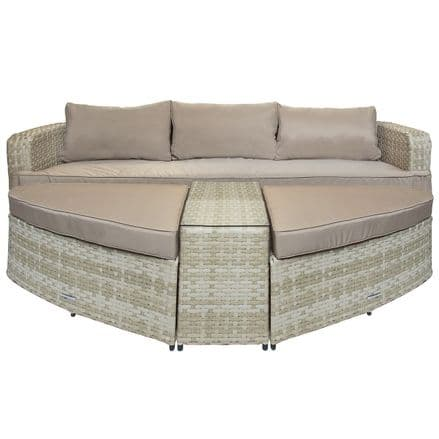 Charles Bentley Roma Rattan Sofa Two Large Footstools Table Natural Sand Tone (Daybed)