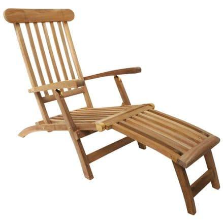 Charles Bentley Solid Wooden Teak Steamer Chair/Sun Lounger Garden Furniture