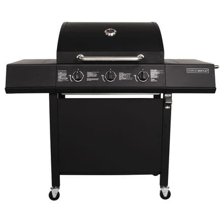 Charles Bentley Stainless Steel 3 Burner Gas BBQ Barbecue Garden Grill - Black