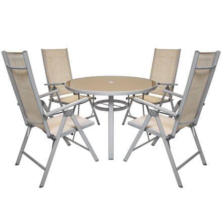 Charles Bentley Textilene 4 Seater Dining Garden Furniture Set - Champagne