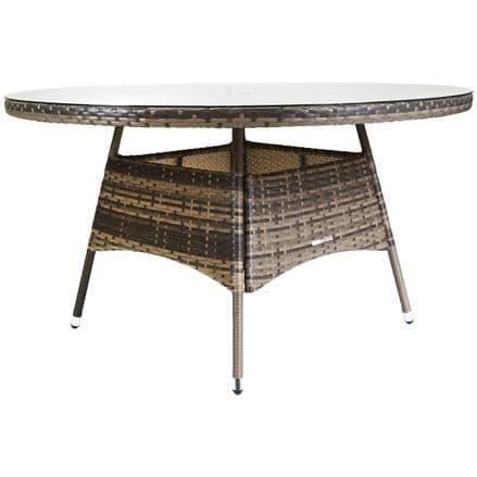 Charles Bentley Verona Large Round Rattan Dining Table Garden Furniture - Brown