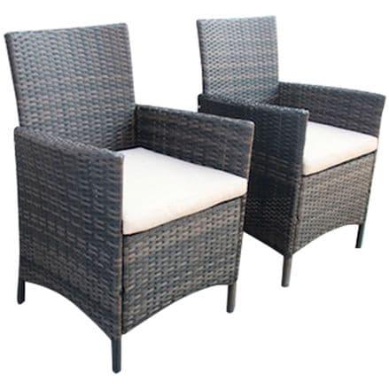 Charles Bentley Verona Pair Of Rattan Dining Chairs Garden Furniture - Brown