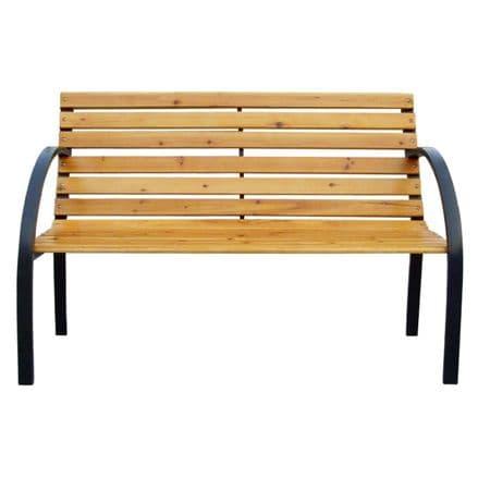 Charles Bentley Wooden Bench With Metal Arch Arms & Legs Outdoor Weatherproof