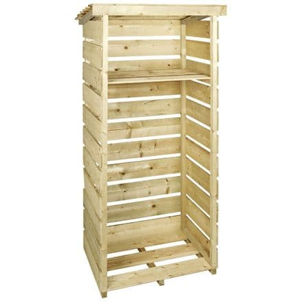 Charles Bentley Wooden Single Tall Log Store Firewood Garden Storage Unit
